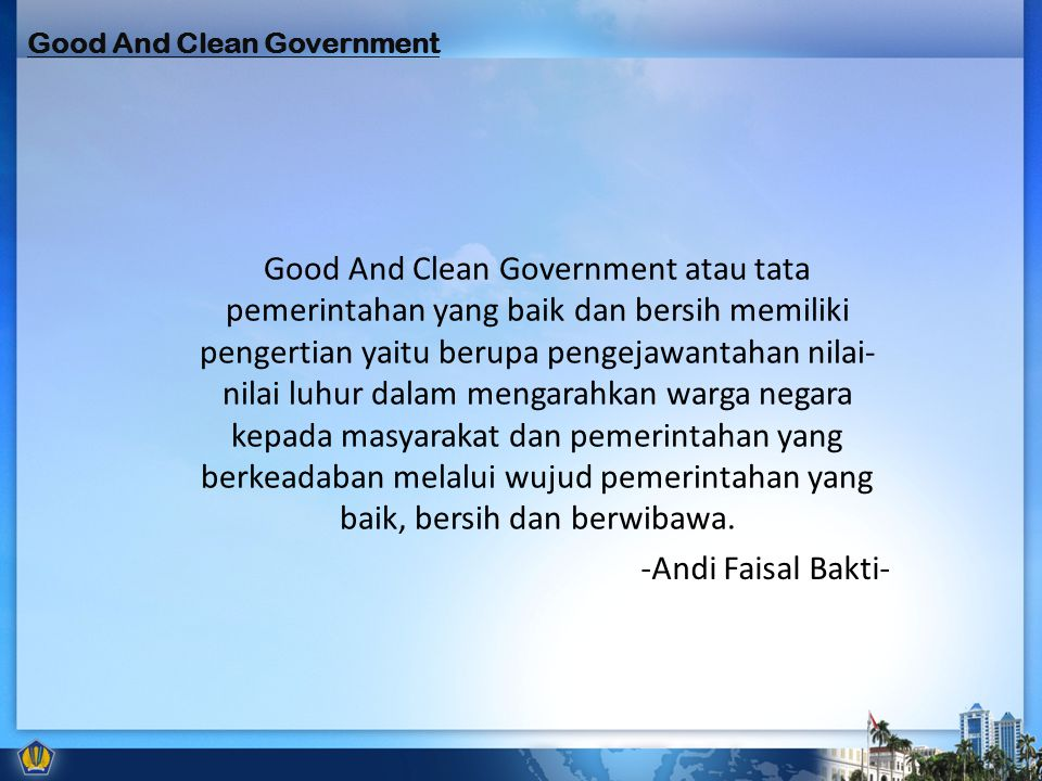 Good And Clean Government