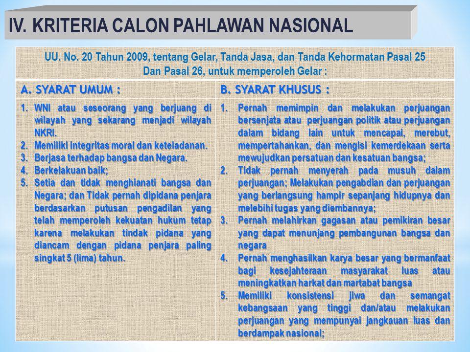 IV. KRITERIA CALON PAHLAWAN NASIONAL