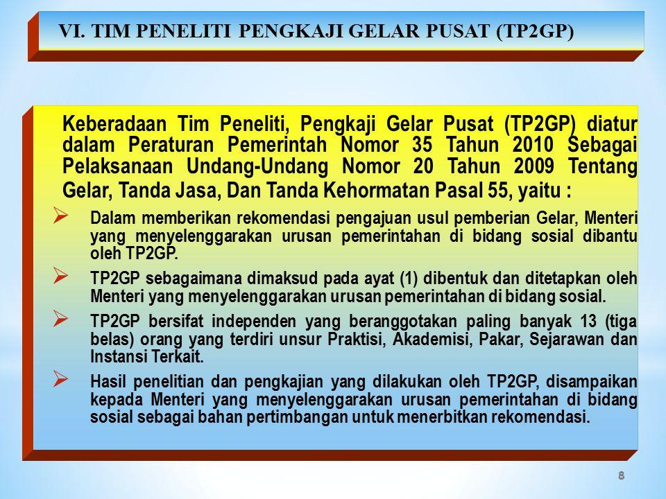 VI. TIM PENELITI PENGKAJI GELAR PUSAT (TP2GP)