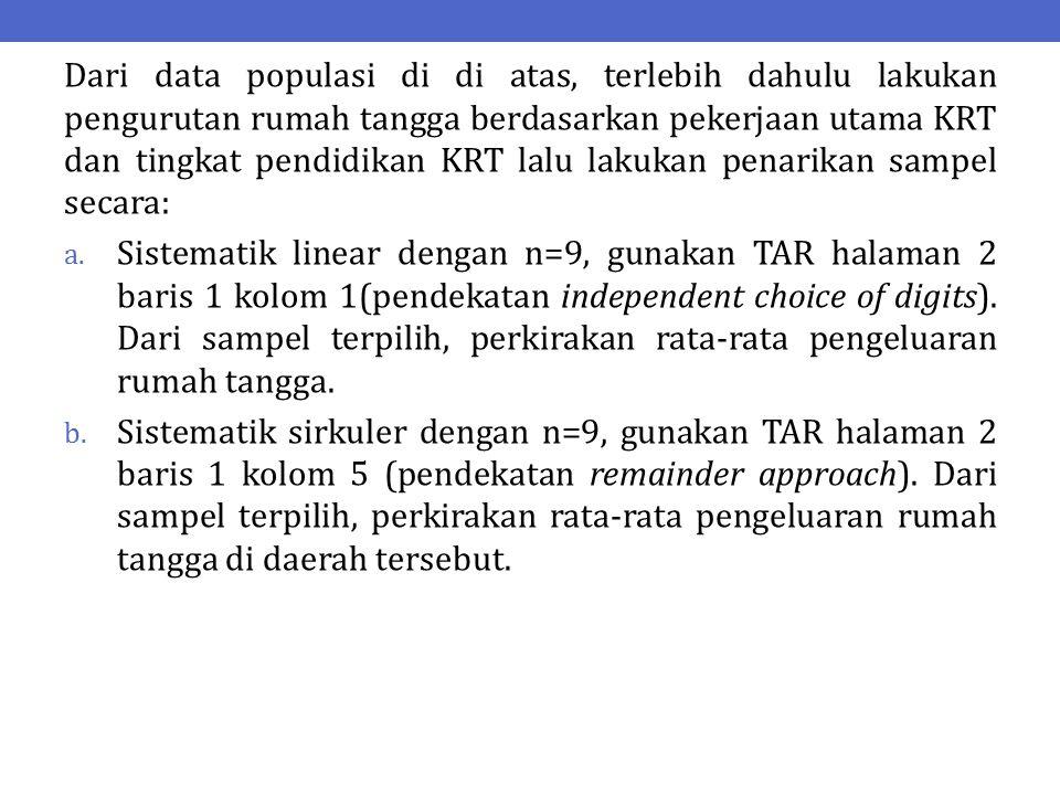 Dari data populasi di di atas, terlebih dahulu lakukan pengurutan rumah tangga berdasarkan pekerjaan utama KRT dan tingkat pendidikan KRT lalu lakukan penarikan sampel secara: