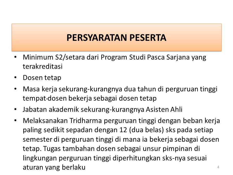 PERSYARATAN PESERTA Minimum S2/setara dari Program Studi Pasca Sarjana yang terakreditasi. Dosen tetap.