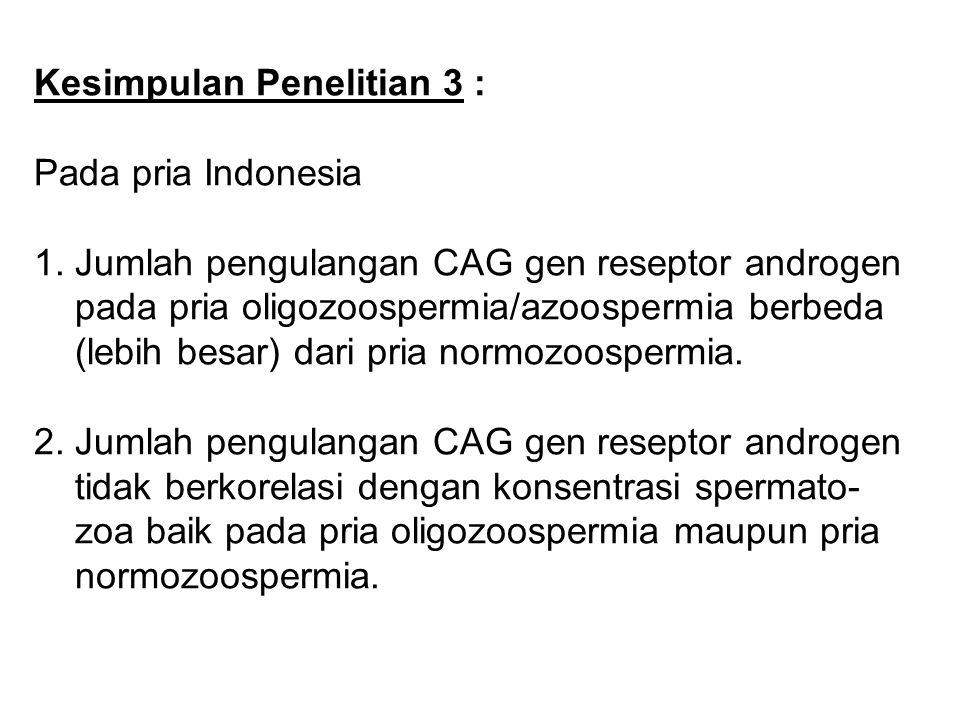 Kesimpulan Penelitian 3 : Pada pria Indonesia : 1