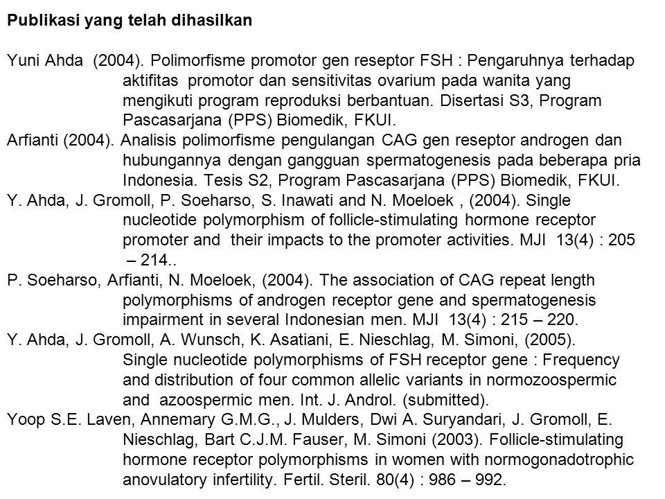 Publikasi yang telah dihasilkan Yuni Ahda (2004)