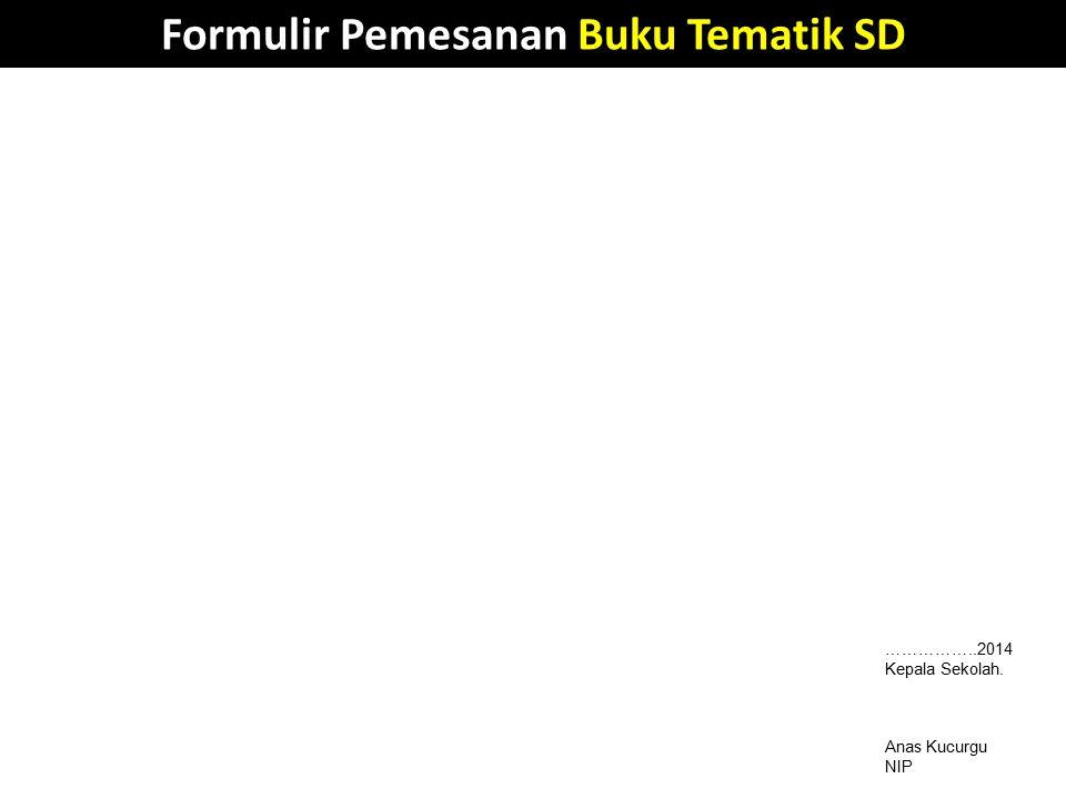 Formulir Pemesanan Buku Tematik SD