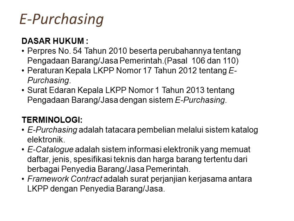 E-Purchasing DASAR HUKUM :