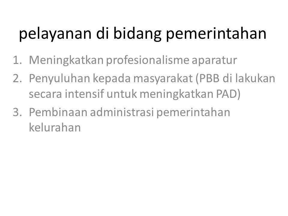 pelayanan di bidang pemerintahan