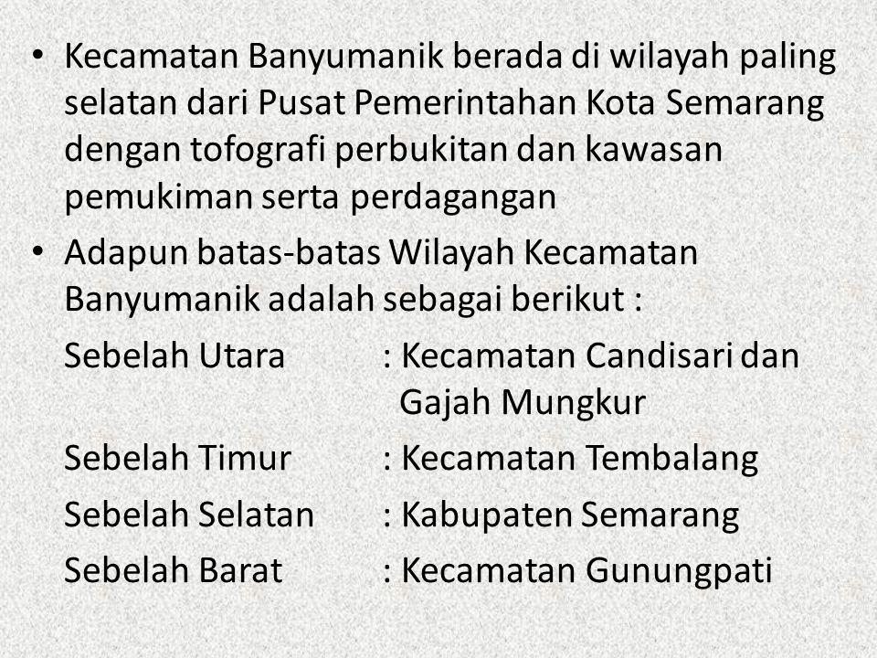 Kecamatan Banyumanik berada di wilayah paling selatan dari Pusat Pemerintahan Kota Semarang dengan tofografi perbukitan dan kawasan pemukiman serta perdagangan