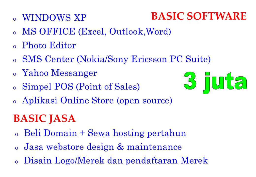 3 juta BASIC SOFTWARE BASIC JASA WINDOWS XP