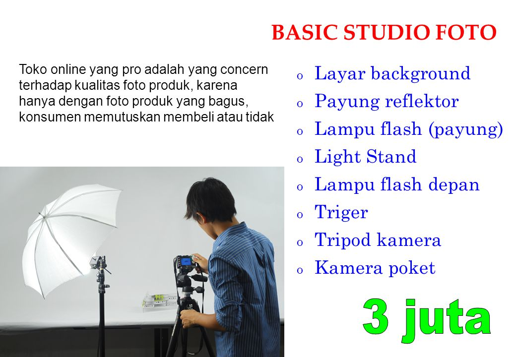 3 juta BASIC STUDIO FOTO Layar background Payung reflektor