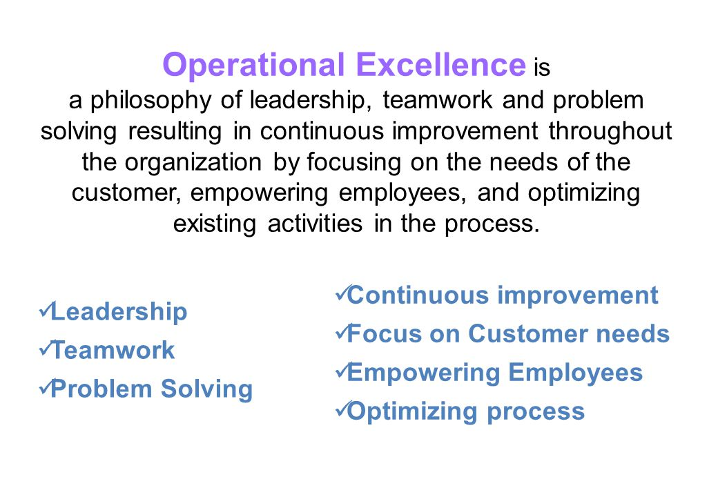 Operational Excellence is
