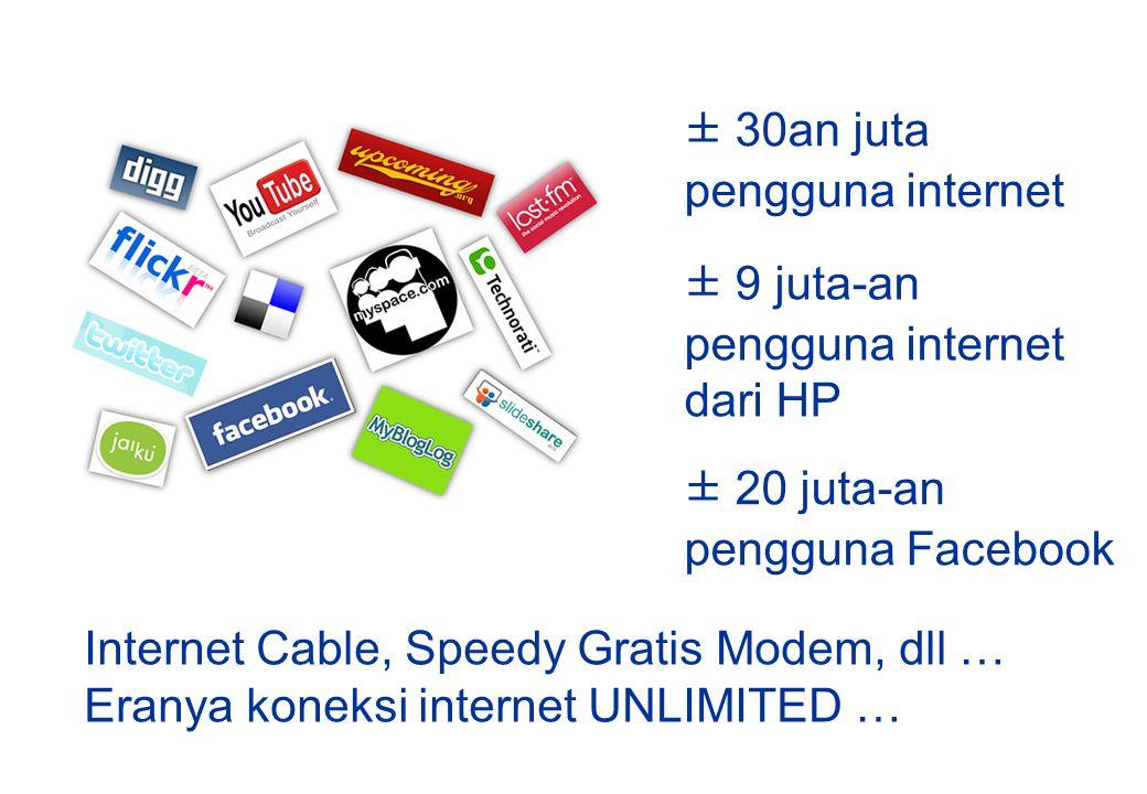 ± 30an juta pengguna internet. ± 9 juta-an. pengguna internet. dari HP. ± 20 juta-an. pengguna Facebook.