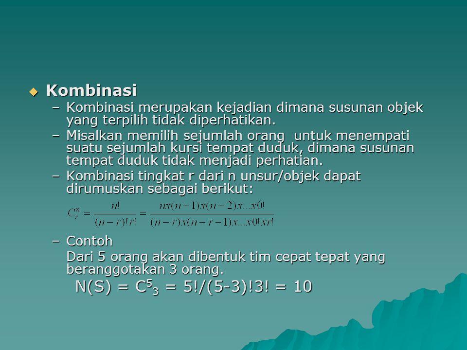 Kombinasi N(S) = C53 = 5!/(5-3)!3! = 10
