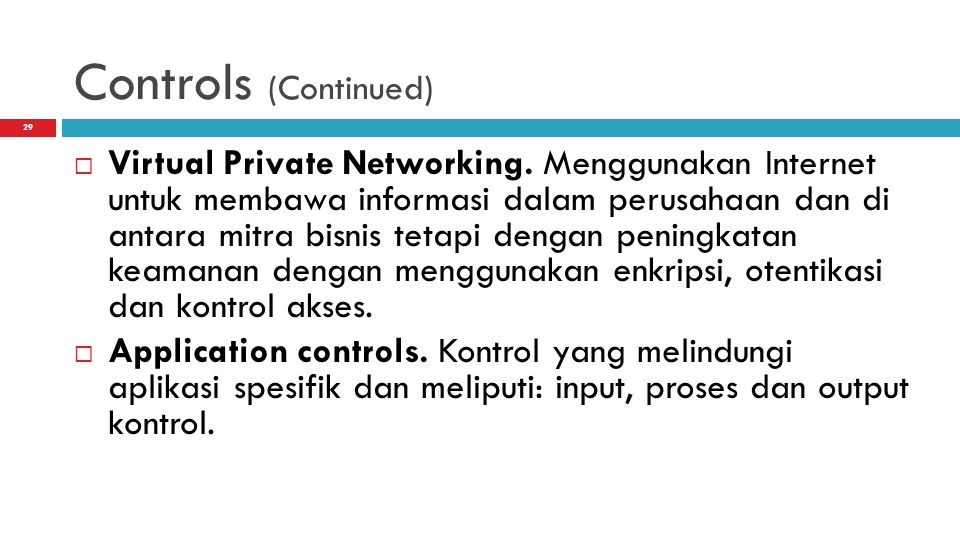Controls (Continued)