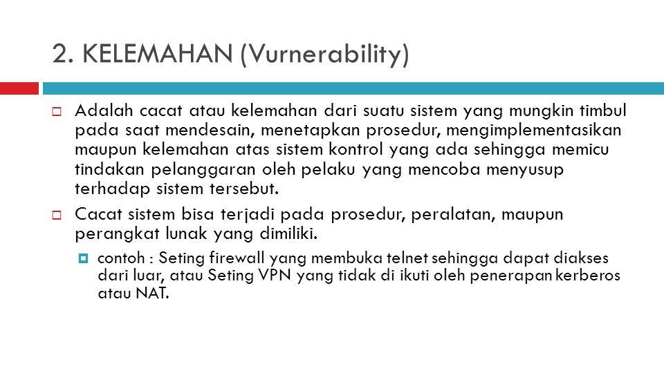 2. KELEMAHAN (Vurnerability)