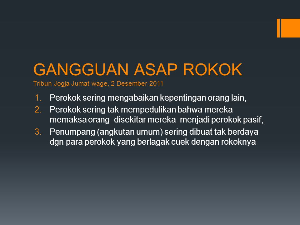 GANGGUAN ASAP ROKOK Tribun Jogja Jumat wage, 2 Desember 2011