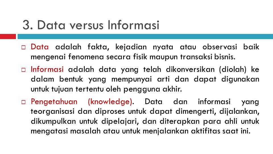 3. Data versus Informasi Data adalah fakta, kejadian nyata atau observasi baik mengenai fenomena secara fisik maupun transaksi bisnis.