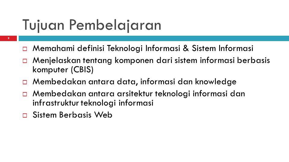 Tujuan Pembelajaran Memahami definisi Teknologi Informasi & Sistem Informasi.