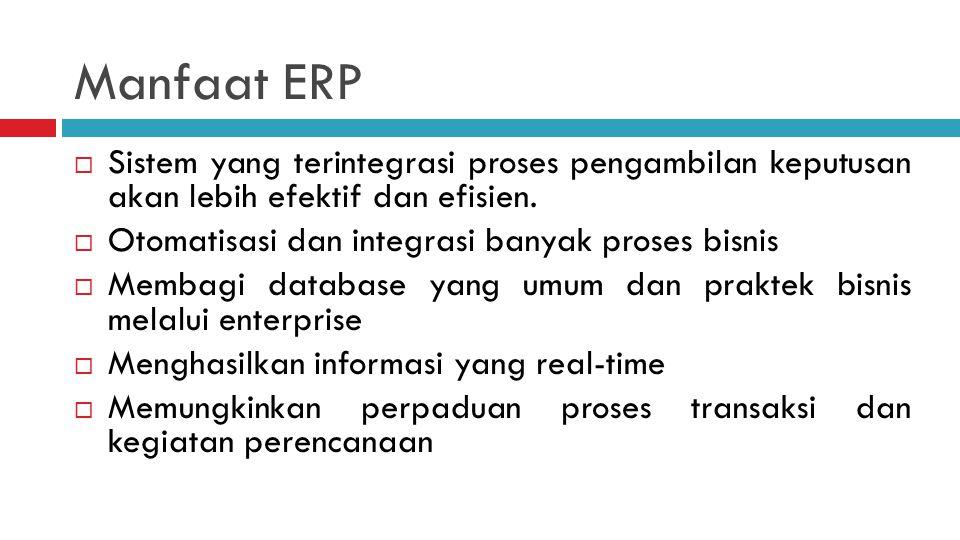 Manfaat ERP Sistem yang terintegrasi proses pengambilan keputusan akan lebih efektif dan efisien. Otomatisasi dan integrasi banyak proses bisnis.