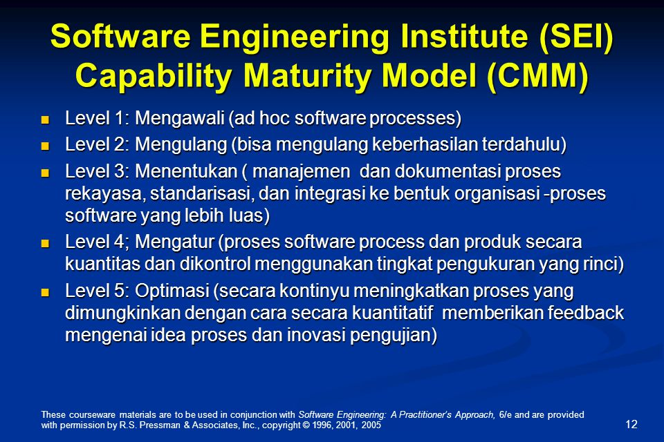 Software Engineering Institute (SEI) Capability Maturity Model (CMM)