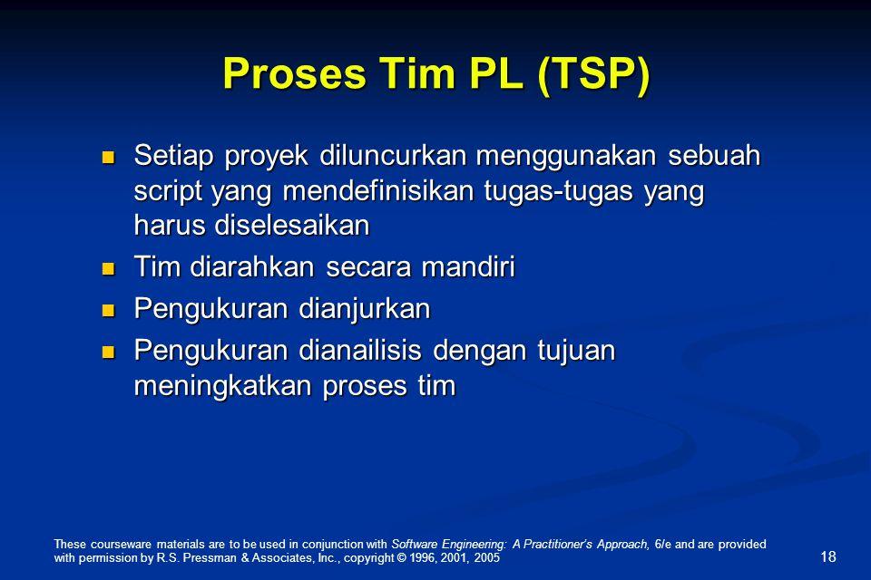 Proses Tim PL (TSP) Setiap proyek diluncurkan menggunakan sebuah script yang mendefinisikan tugas-tugas yang harus diselesaikan.