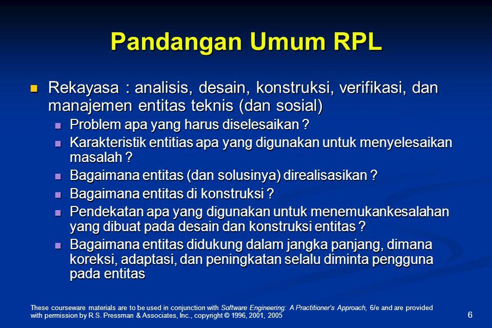 Pandangan Umum RPL Rekayasa : analisis, desain, konstruksi, verifikasi, dan manajemen entitas teknis (dan sosial)