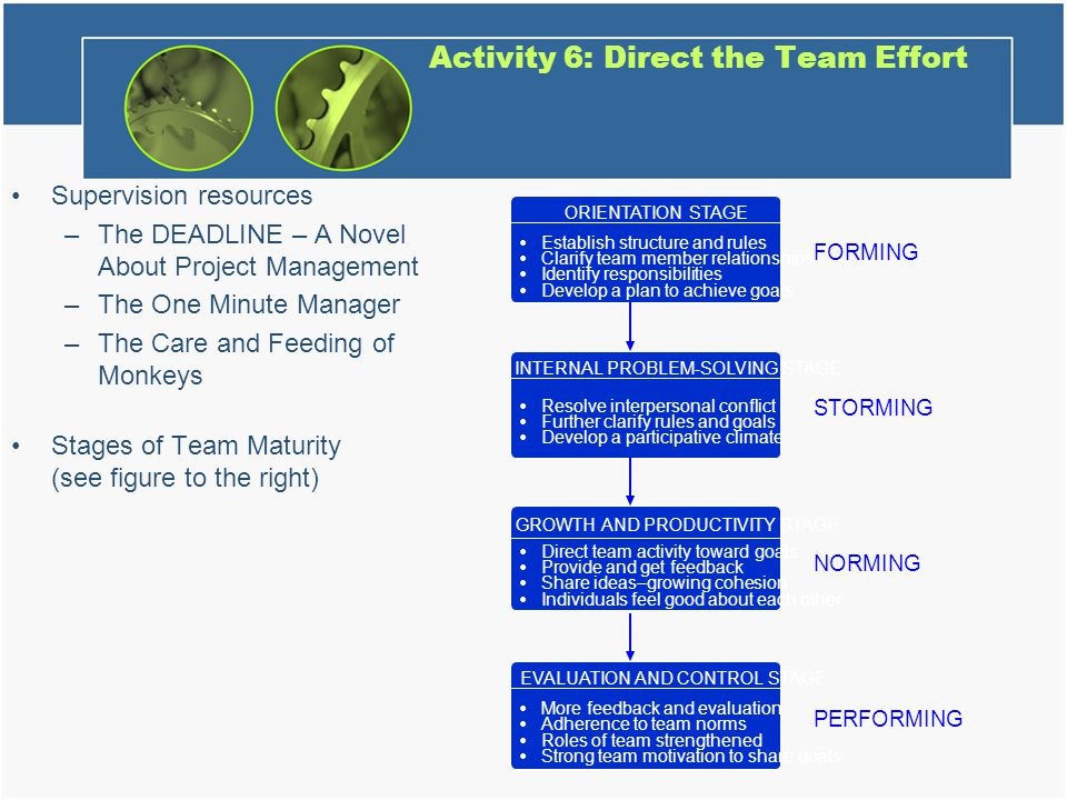 Activity 6: Direct the Team Effort