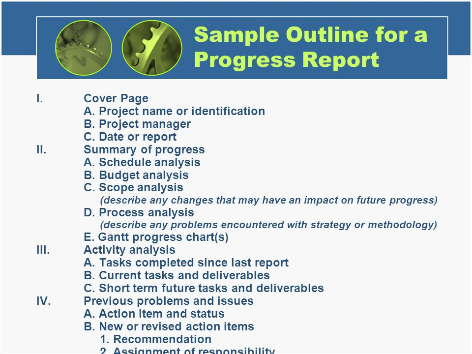Sample Outline for a Progress Report