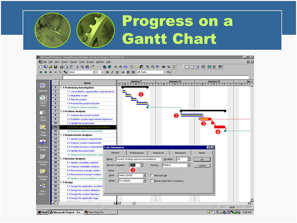 Progress on a Gantt Chart