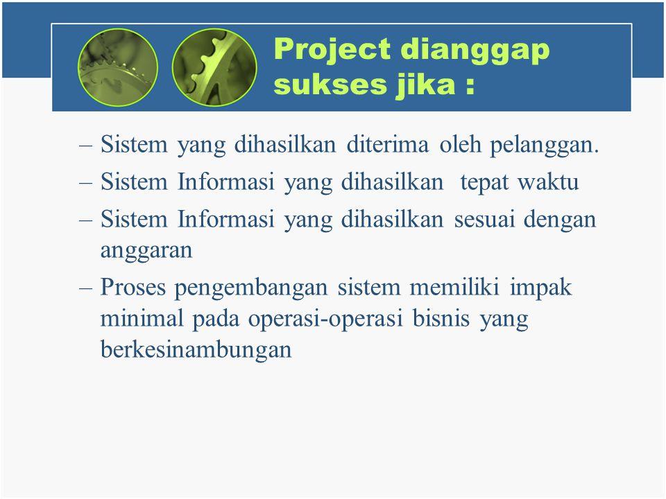 Project dianggap sukses jika :
