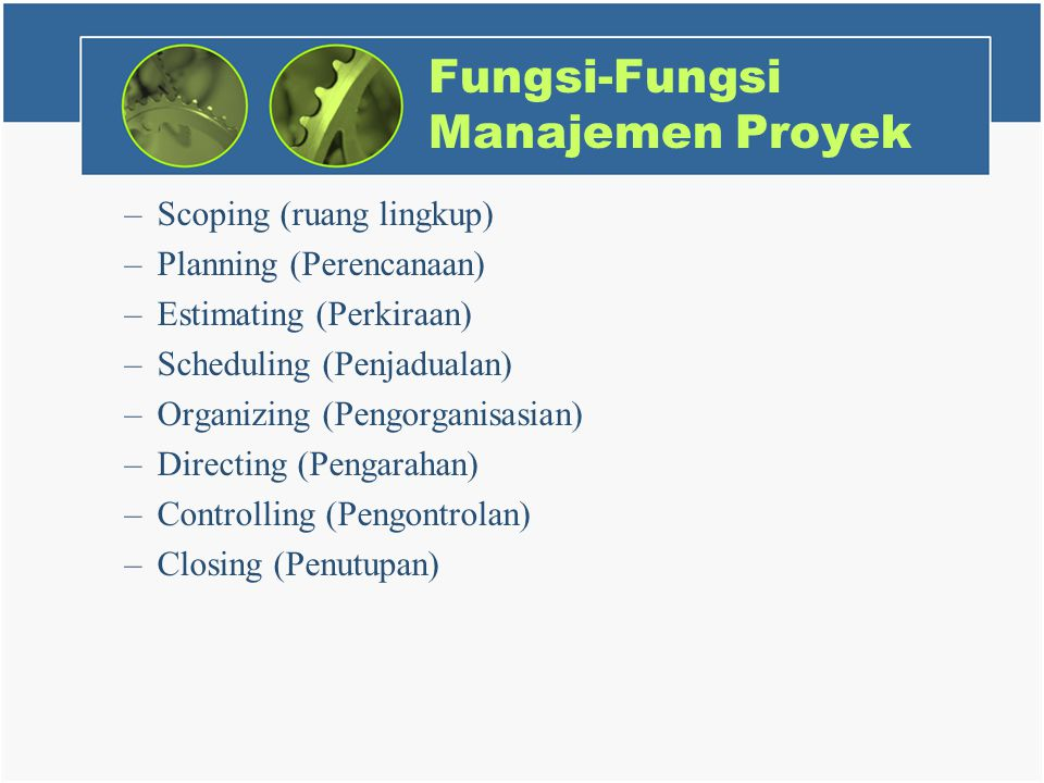 Fungsi-Fungsi Manajemen Proyek