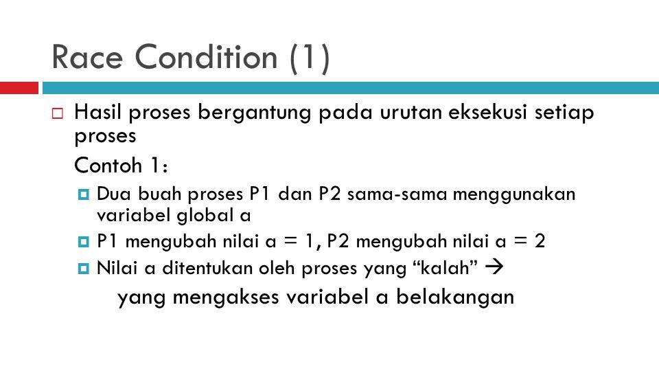 Race Condition (1) Hasil proses bergantung pada urutan eksekusi setiap proses. Contoh 1: