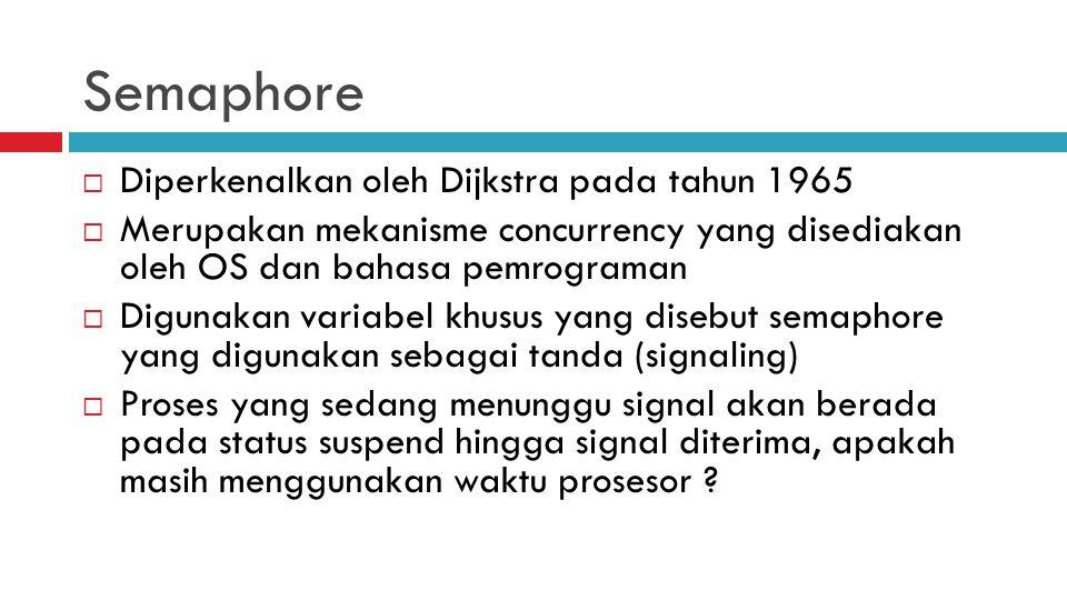 Semaphore Diperkenalkan oleh Dijkstra pada tahun 1965