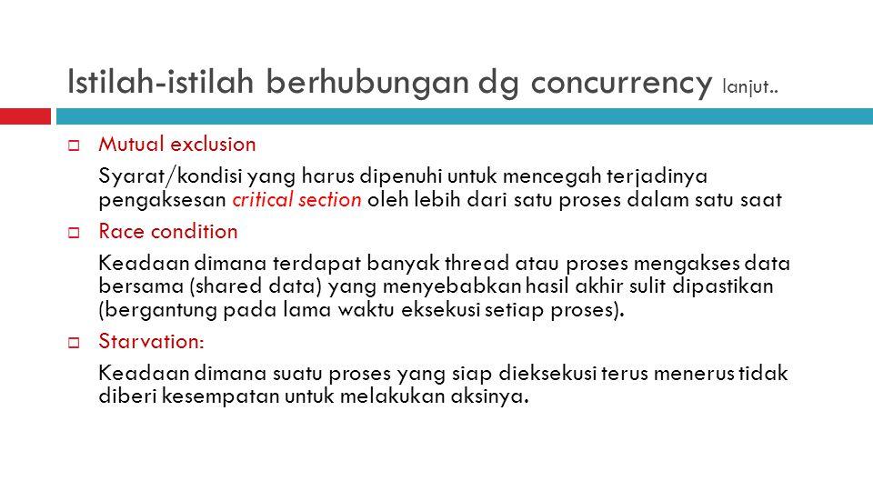 Istilah-istilah berhubungan dg concurrency lanjut..
