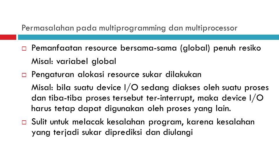 Permasalahan pada multiprogramming dan multiprocessor