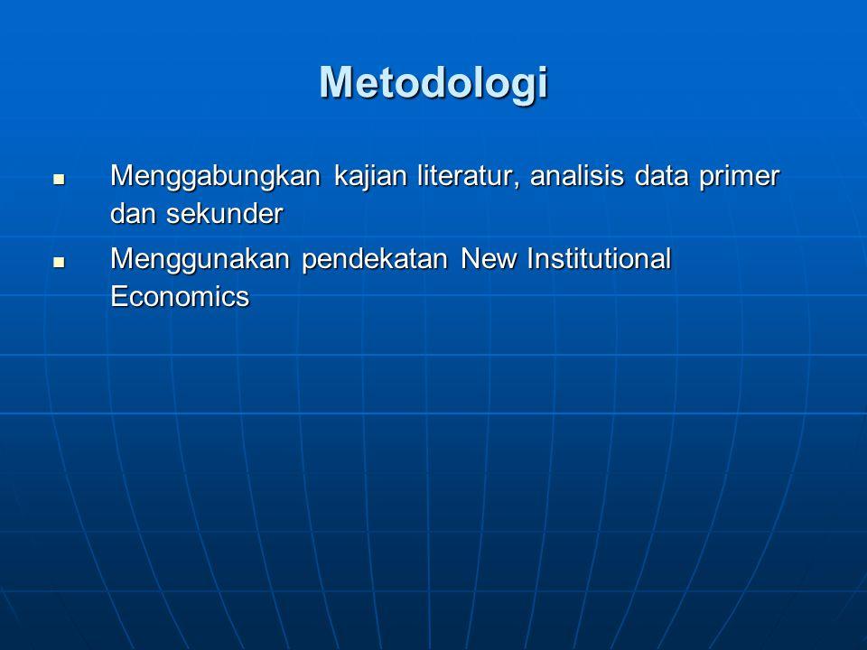 Metodologi Menggabungkan kajian literatur, analisis data primer dan sekunder.
