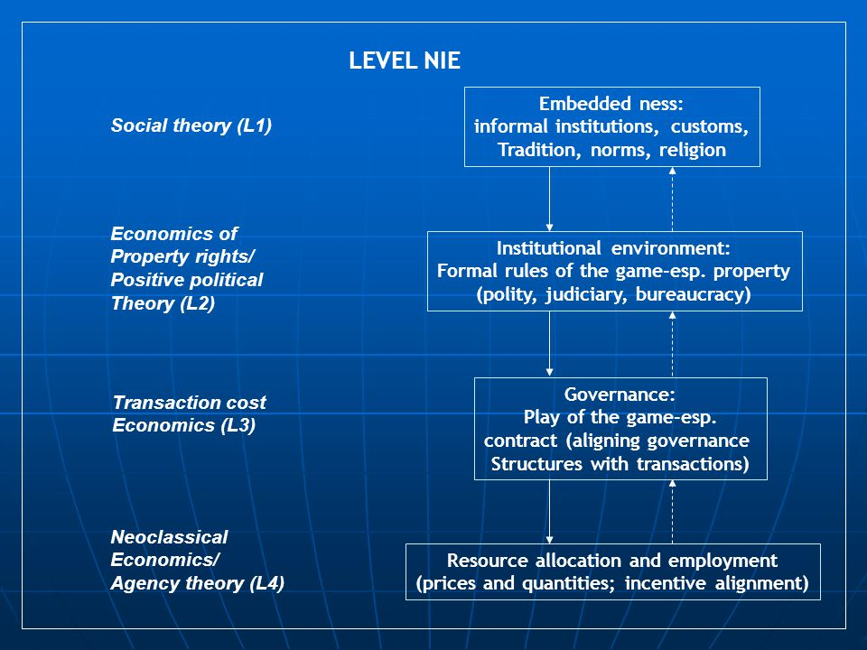 LEVEL NIE Embedded ness: informal institutions, customs,