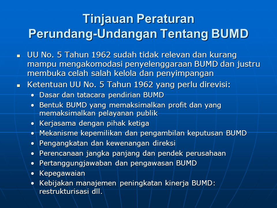 Tinjauan Peraturan Perundang-Undangan Tentang BUMD