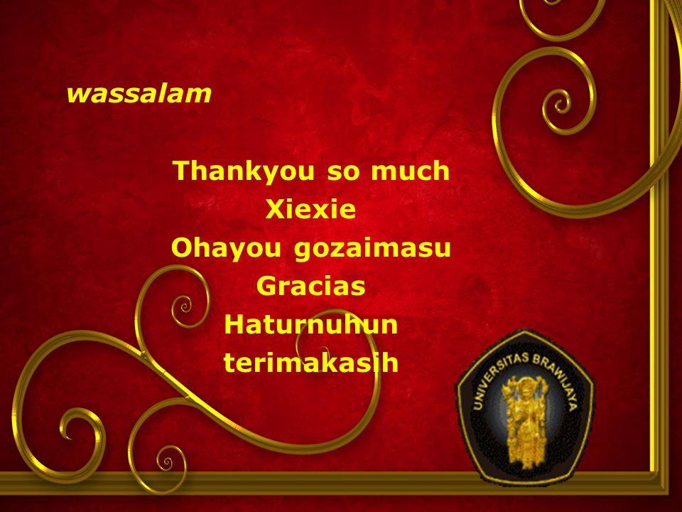 wassalam Thankyou so much Xiexie Ohayou gozaimasu Gracias Haturnuhun terimakasih
