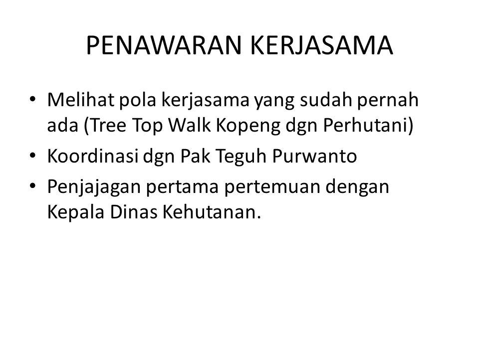 PENAWARAN KERJASAMA Melihat pola kerjasama yang sudah pernah ada (Tree Top Walk Kopeng dgn Perhutani)