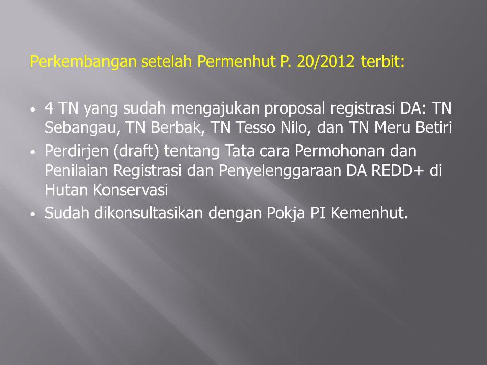 Perkembangan setelah Permenhut P. 20/2012 terbit:
