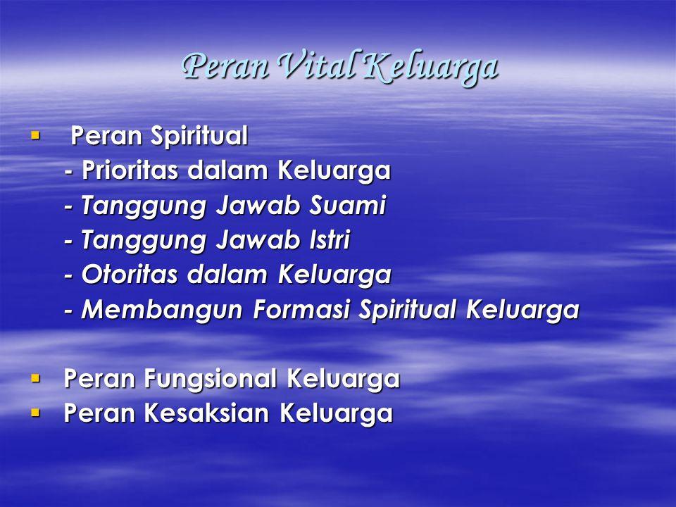 Peran Vital Keluarga Peran Spiritual - Prioritas dalam Keluarga