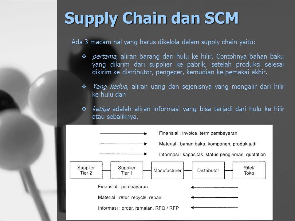 Supply Chain dan SCM Ada 3 macam hal yang harus dikelola dalam supply chain yaitu: