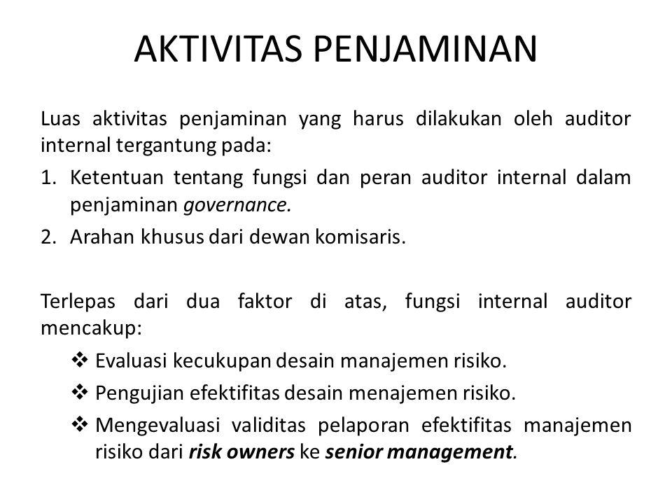 AKTIVITAS PENJAMINAN Luas aktivitas penjaminan yang harus dilakukan oleh auditor internal tergantung pada: