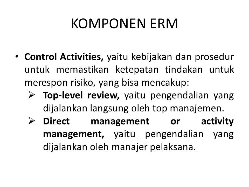 KOMPONEN ERM Control Activities, yaitu kebijakan dan prosedur untuk memastikan ketepatan tindakan untuk merespon risiko, yang bisa mencakup: