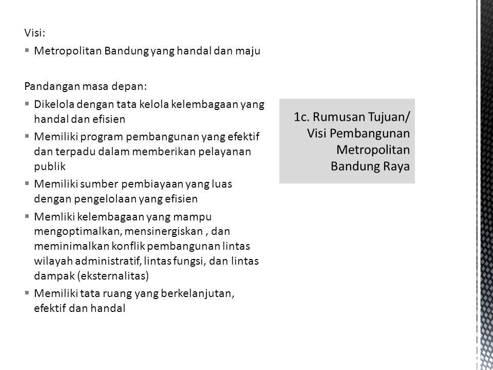 1c. Rumusan Tujuan/ Visi Pembangunan Metropolitan Bandung Raya