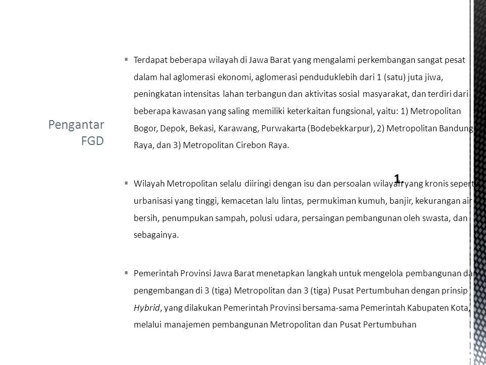 Terdapat beberapa wilayah di Jawa Barat yang mengalami perkembangan sangat pesat dalam hal aglomerasi ekonomi, aglomerasi penduduklebih dari 1 (satu) juta jiwa, peningkatan intensitas lahan terbangun dan aktivitas sosial masyarakat, dan terdiri dari beberapa kawasan yang saling memiliki keterkaitan fungsional, yaitu: 1) Metropolitan Bogor, Depok, Bekasi, Karawang, Purwakarta (Bodebekkarpur), 2) Metropolitan Bandung Raya, dan 3) Metropolitan Cirebon Raya.