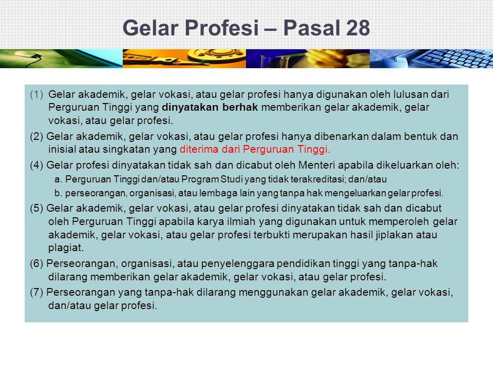 Gelar Profesi – Pasal 28