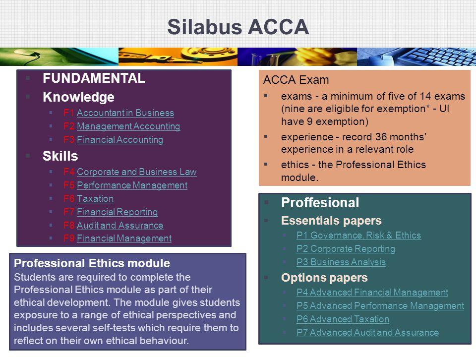 Silabus ACCA FUNDAMENTAL Knowledge Skills Proffesional ACCA Exam