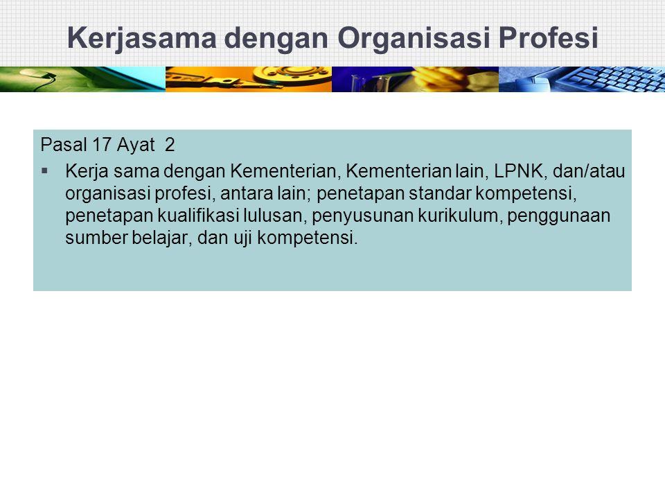 Kerjasama dengan Organisasi Profesi