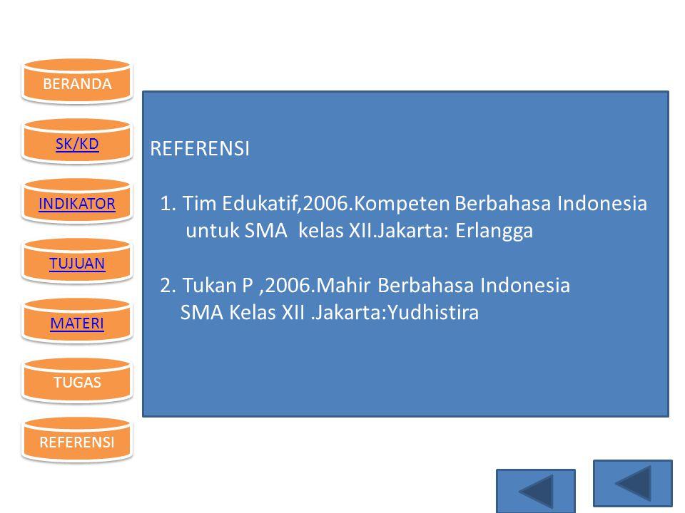 REFERENSI 1. Tim Edukatif,2006.Kompeten Berbahasa Indonesia. untuk SMA kelas XII.Jakarta: Erlangga.